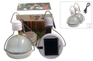 2x SOLAR POWERED HANGING CAMPING LIGHT USB CHARGING CONNECTION CABLE caravan